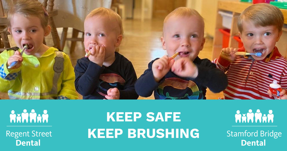 keep-safe-keep-brushing Twins Brushing their teeth
